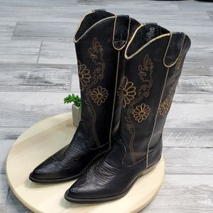 Wanted cowboy Boots Black Size 4